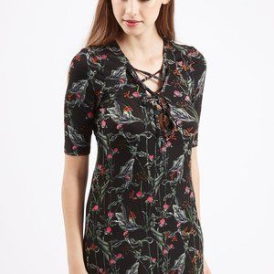 Topshop Black Forest Tie-Up Tunic Dress Size 2